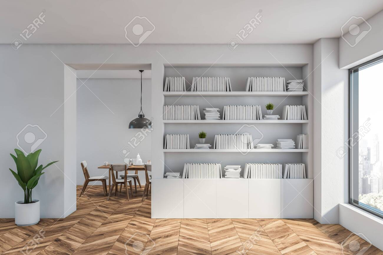 Interior of modern living room with white walls, wooden floor,..