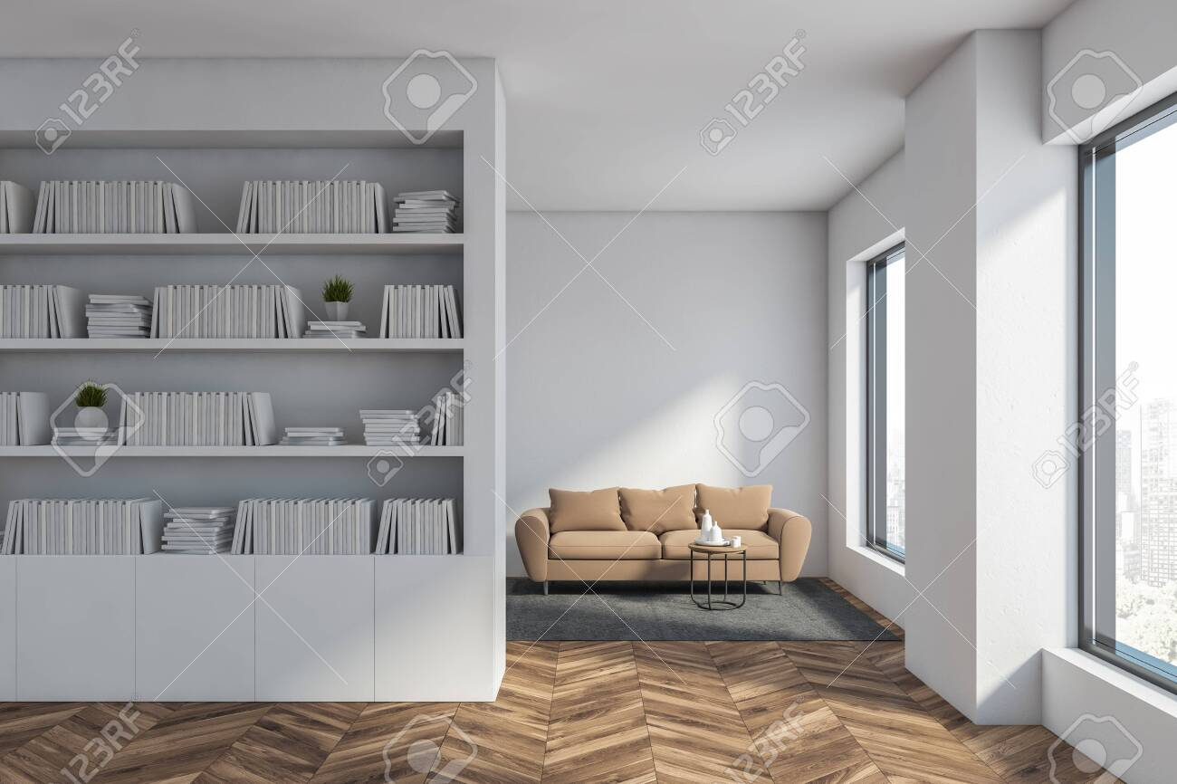 Interior Of White Living Room Or Home Library With Wooden Floor
