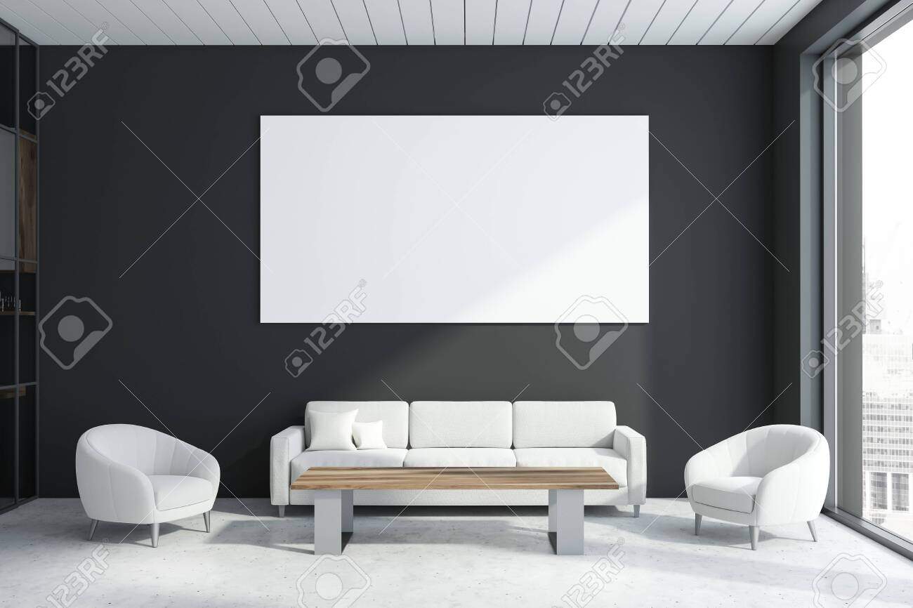 Incredible Interior Of Modern Office Waiting Room With Gray Walls Concrete Gamerscity Chair Design For Home Gamerscityorg