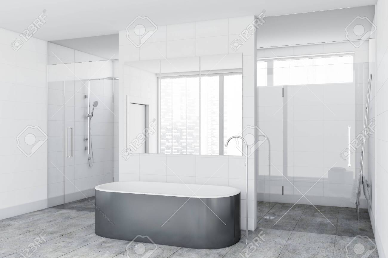 Corner Of Luxury Bathroom With White Tile Walls Concrete Floor Stock Photo Picture And Royalty Free Image Image 129407104