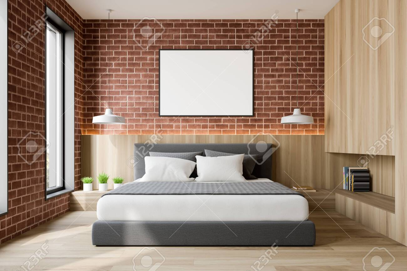 Interior Of Loft Bedroom With Brick And Wooden Walls Wooden Stock Photo Picture And Royalty Free Image Image 129407190