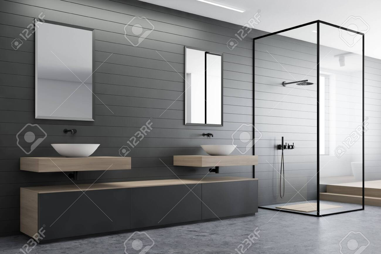 Corner Of Modern Bathroom With Gray Walls Concrete Floor Double Stock Photo Picture And Royalty Free Image Image 129782840