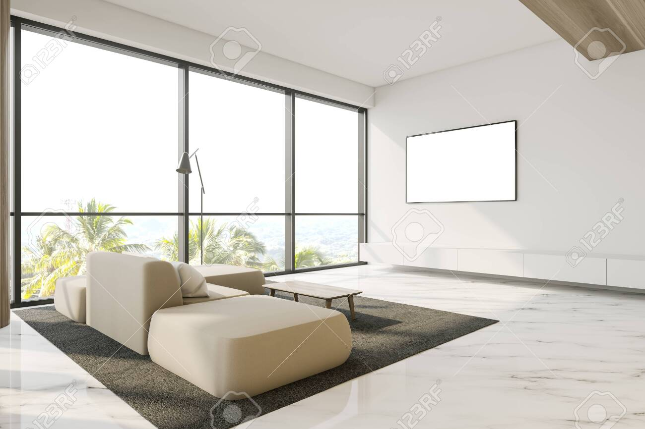 Luxury Panoramic Living Room Interior With White Walls Marble Stock Photo Picture And Royalty Free Image Image 130264619