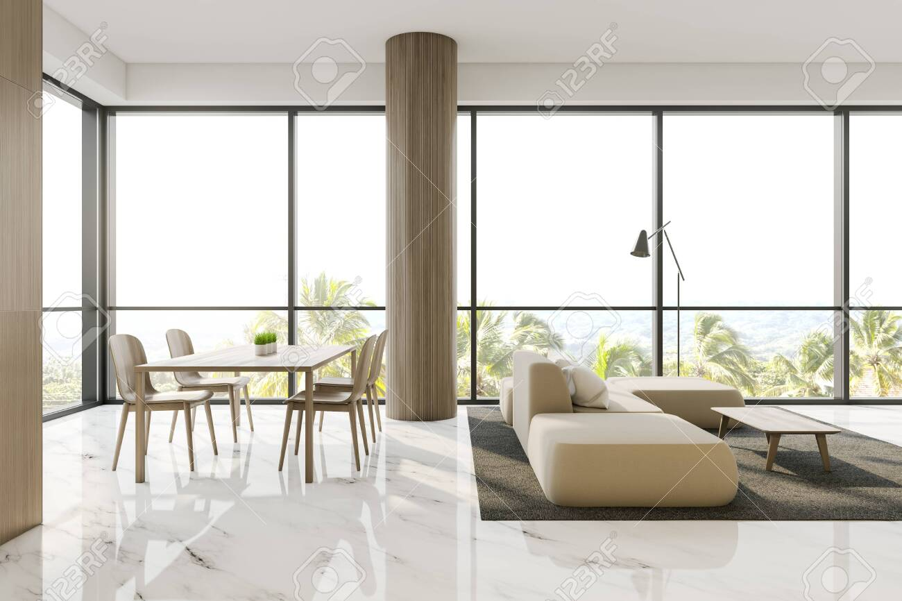 Luxury Panoramic Living Room Interior With Wooden Walls Marble Stock Photo Picture And Royalty Free Image Image 130264422