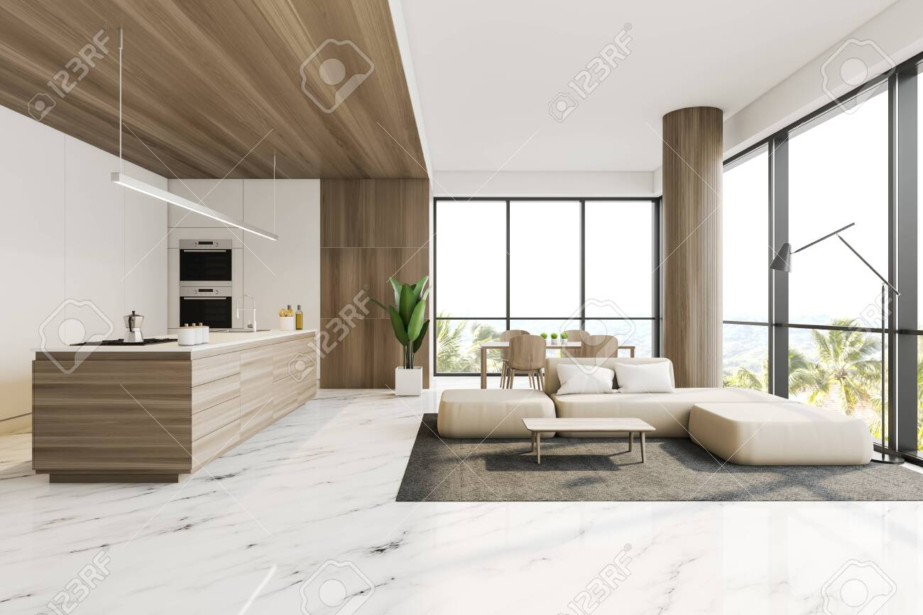 Interior Of Stylish Kitchen And Living Room With White And Wooden Stock Photo Picture And Royalty Free Image Image 130264308