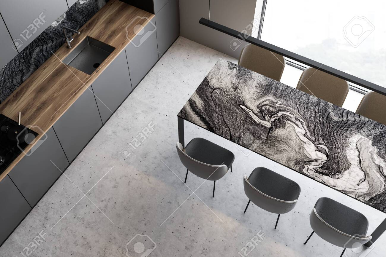 Top View Of Luxury Kitchen With White And Marble Walls Concrete Stock Photo Picture And Royalty Free Image Image 130264309