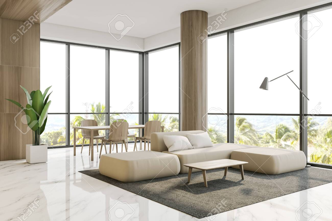Luxury Living Room Corner With Wooden Walls Marble Floor Columns Stock Photo Picture And Royalty Free Image Image 130263995