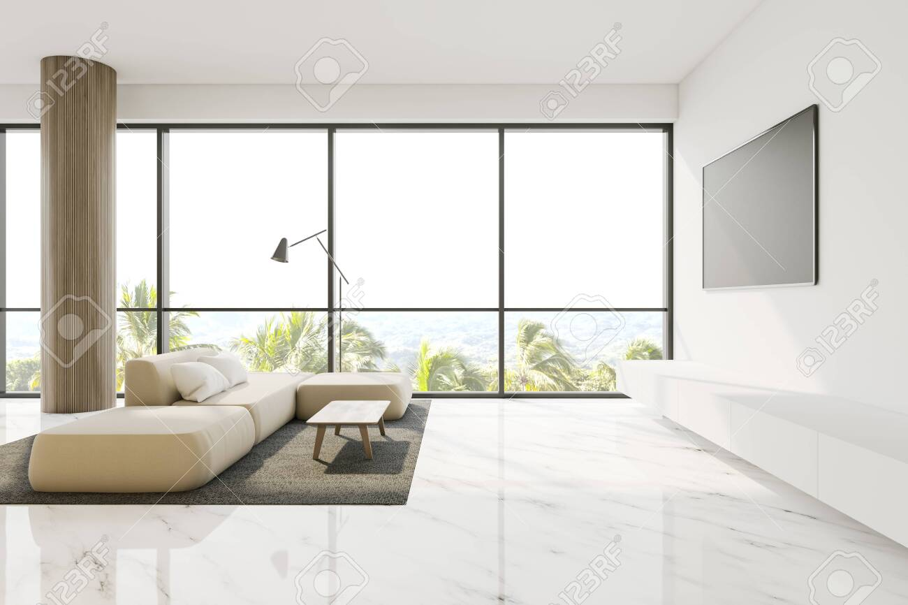 Luxury Panoramic Living Room Interior With White Walls Marble Stock Photo Picture And Royalty Free Image Image 130264119