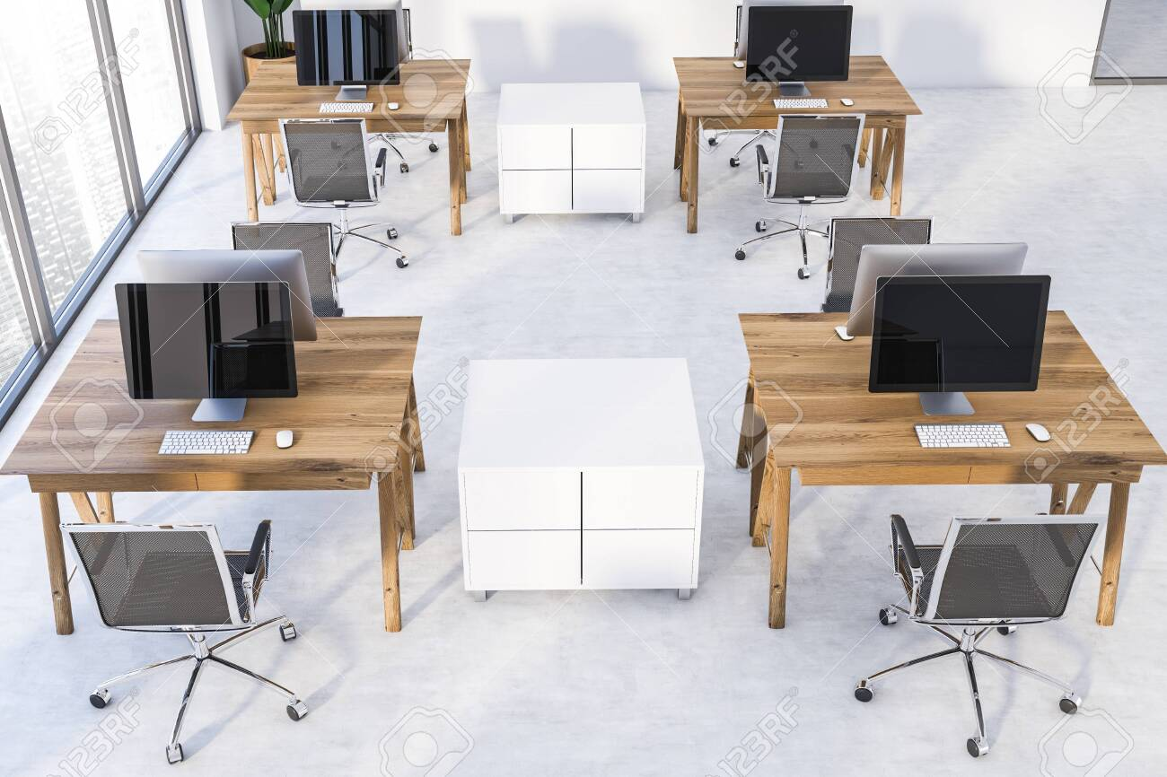 Top View Of Modern Office Or Computer Lab With White Walls Panoramic