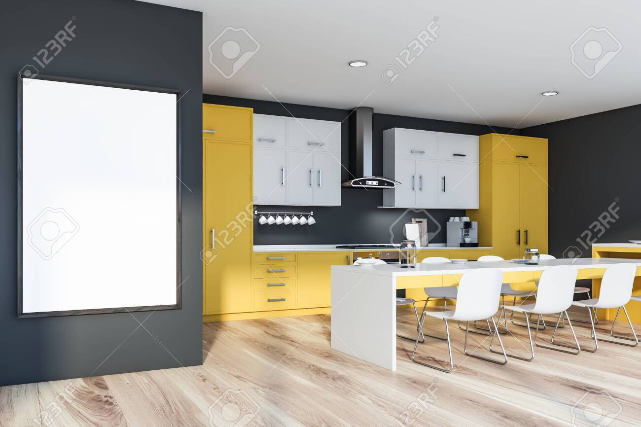 Interior of stylish kitchen with grey walls, wooden floor, yellow..