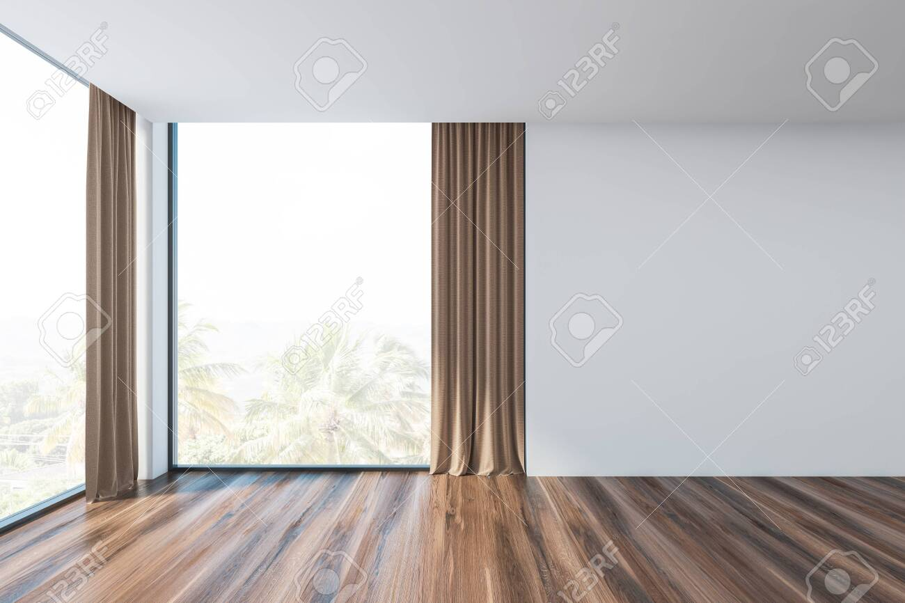 Interior of empty living room with white walls, wooden floor,..