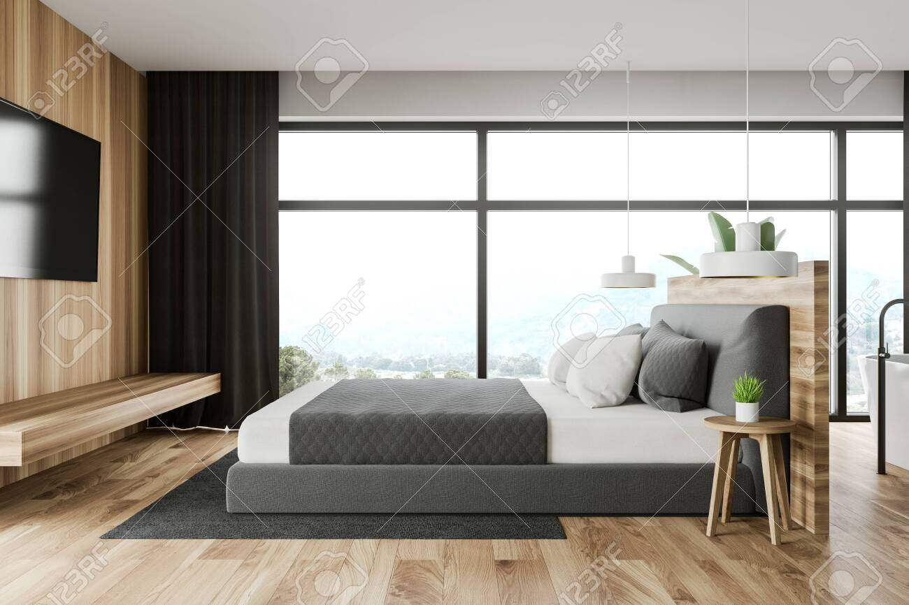 Interior Of Modern Bedroom With White And Wooden Walls Panoramic Stock Photo Picture And Royalty Free Image Image 131950403