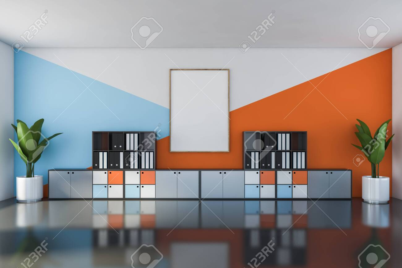 Interior Of Bright Open Space Office With White Blue And Orange Stock Photo Picture And Royalty Free Image Image 133854769