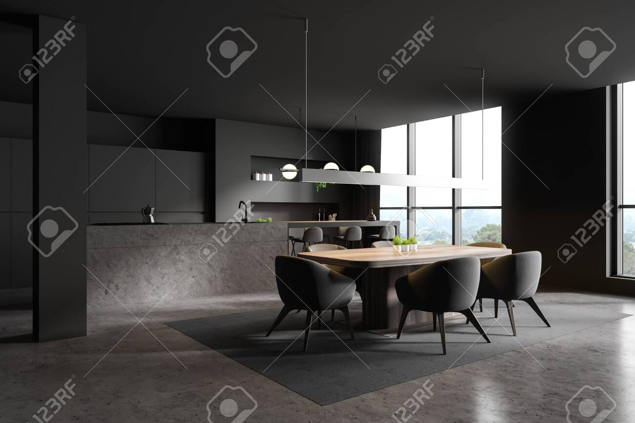 Corner Of Modern Kitchen And Dining Room With Dark Grey Walls Stock Photo Picture And Royalty Free Image Image 134484311