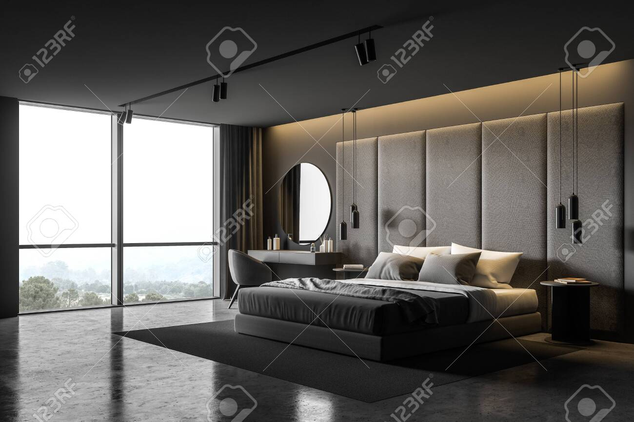 Corner Of Master Bedroom With Grey And Dark Wooden Walls Comfortable Stock Photo Picture And Royalty Free Image Image 135708841