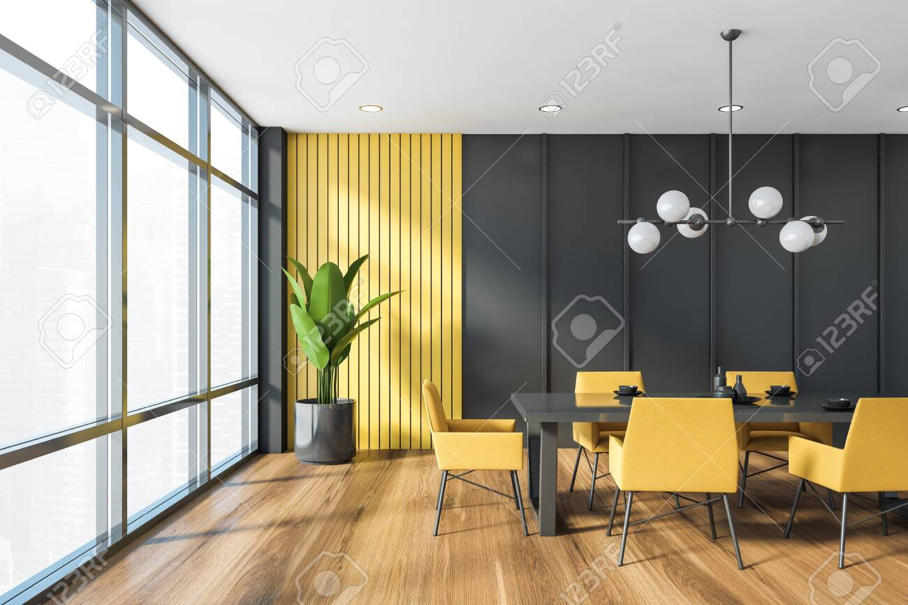 Interior of panoramic dining room with gray and yellow walls,..