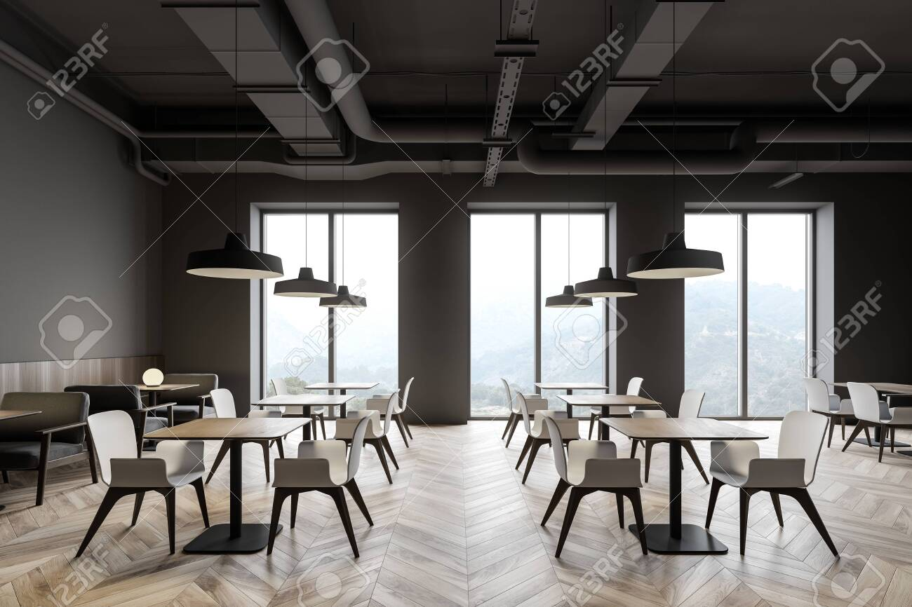 Interior Of Modern Industrial Style Restaurant With Gray Walls Wooden Floor Rows Of Square Tables With Gray Armchairs And White Chairs 3d Rendering Fotos Retratos Imagenes Y Fotografia De Archivo Libres De