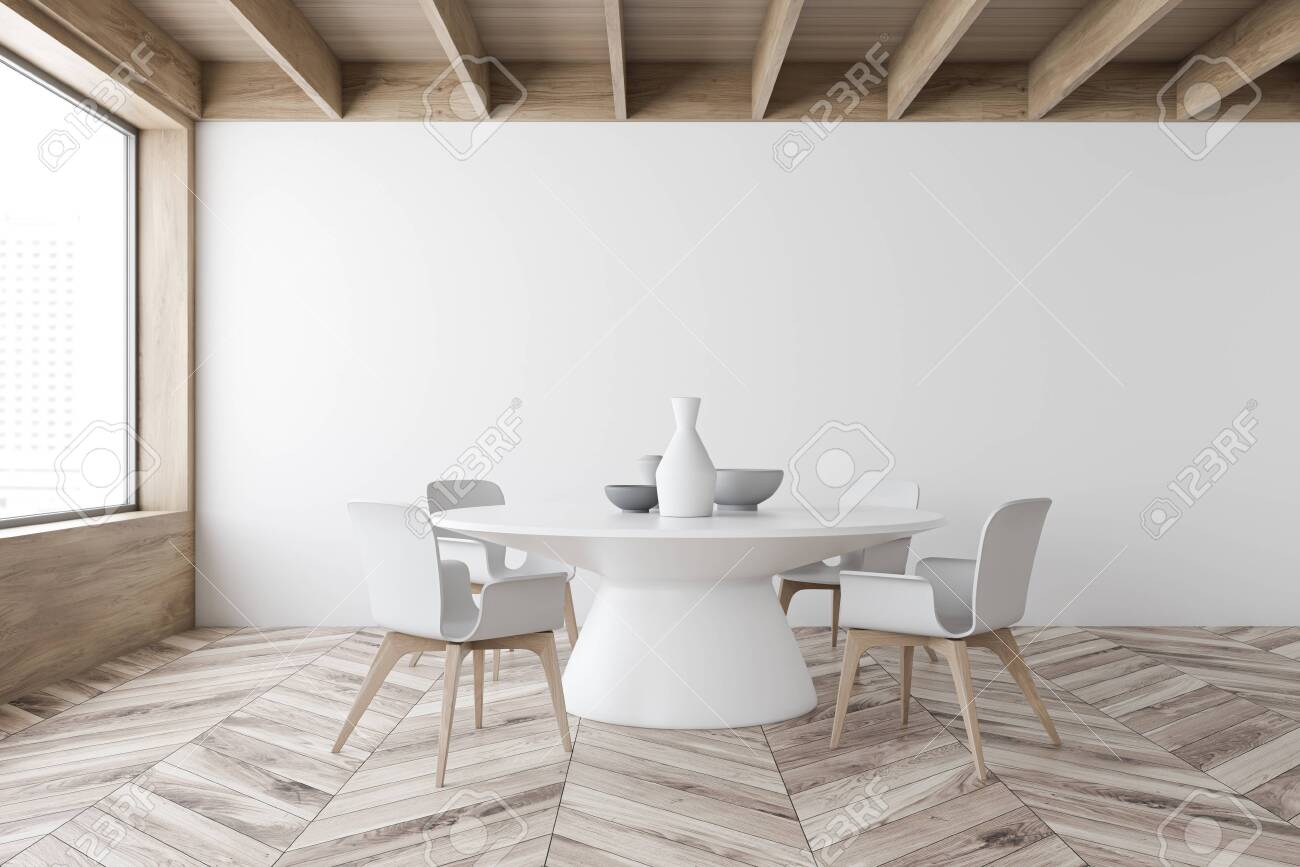 Interior Of Stylish Dining Room With White And Wooden Walls Stock Photo Picture And Royalty Free Image Image 138088183