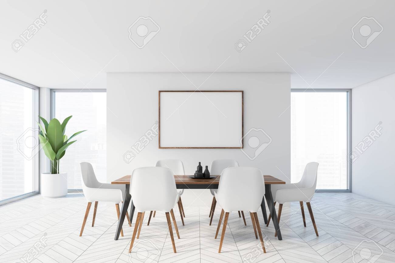 Interior Of Modern Dining Room With White Walls White Wooden Stock Photo Picture And Royalty Free Image Image 138088382
