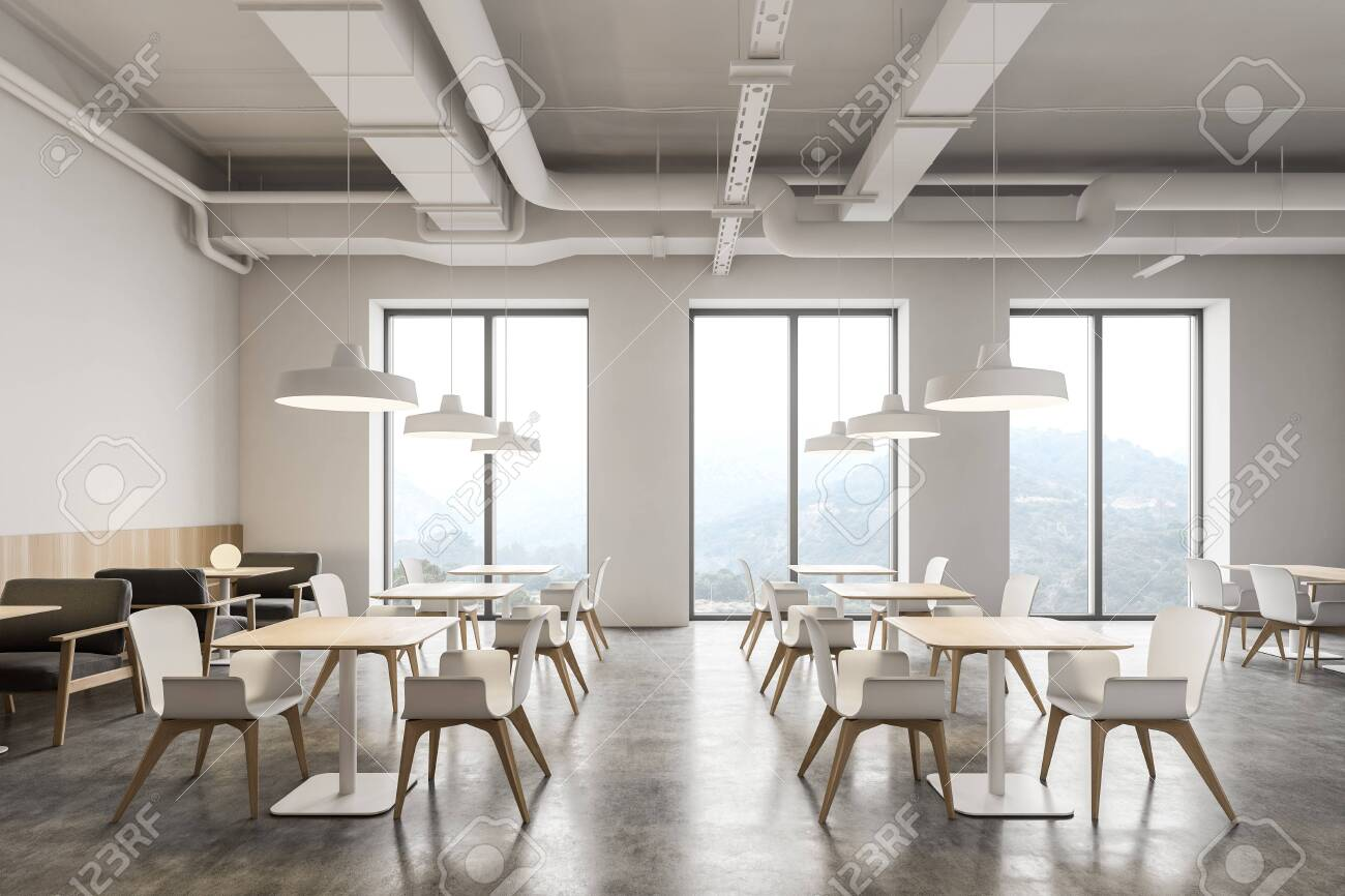 Interior Of Modern Industrial Style Restaurant With White Walls Concrete Floor Rows Of Square Tables With Gray Armchairs And White Chairs 3d Rendering Fotos Retratos Imagenes Y Fotografia De Archivo Libres De
