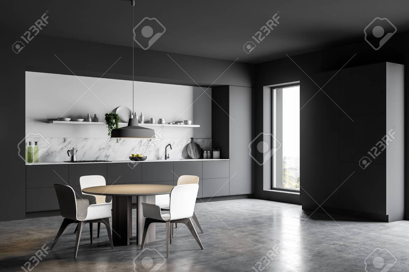 Corner Of Luxury Kitchen With Gray And White Marble Walls Concrete Floor Grey Countertops Big Cupboard And Round Dining Table With Chairs 3d Rendering Lizenzfreie Fotos Bilder Und Stock Fotografie Image 138603465