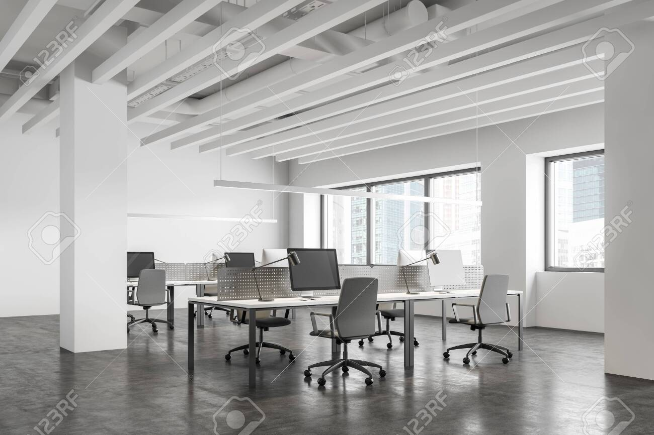 Corner Of Modern Industrial Style Open Space Office With White Stock Photo Picture And Royalty Free Image Image 138731430