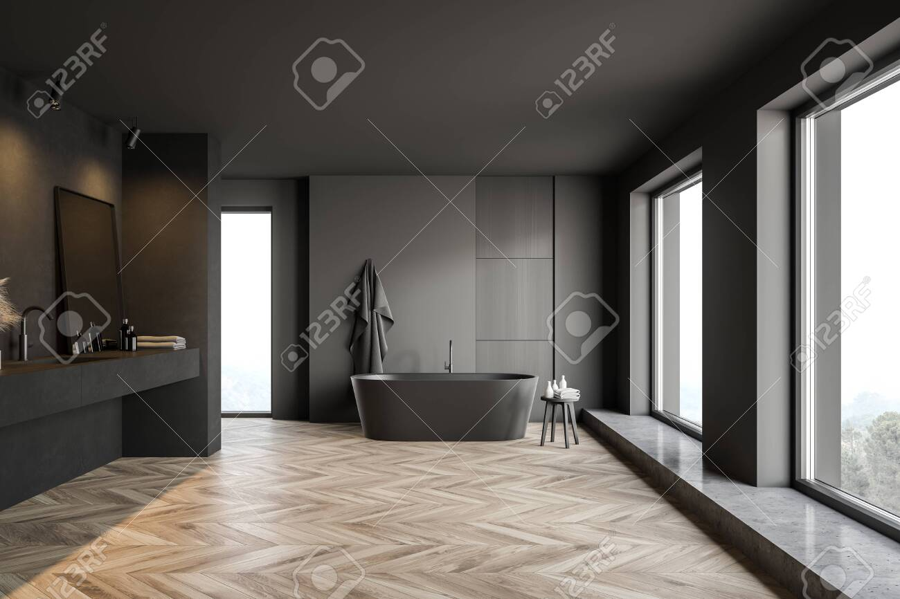 Front View Of Modern Bathroom With Dark Grey Walls Wooden Floor Stock Photo Picture And Royalty Free Image Image 139678816