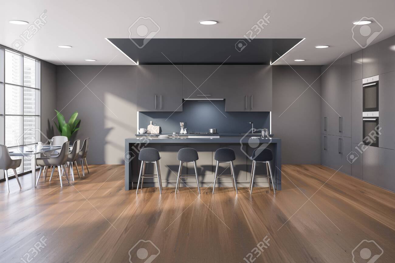 Interior Of Spacious Modern Kitchen With Gray And Blue Walls Stock Photo Picture And Royalty Free Image Image 139679279