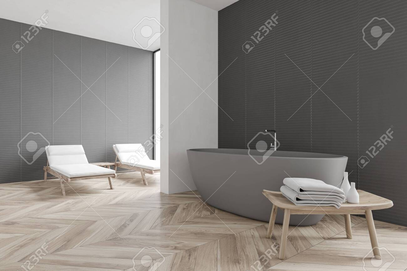 Corner Of Spacious Spa Bathroom With Gray And White Walls Wooden Stock Photo Picture And Royalty Free Image Image 139679563