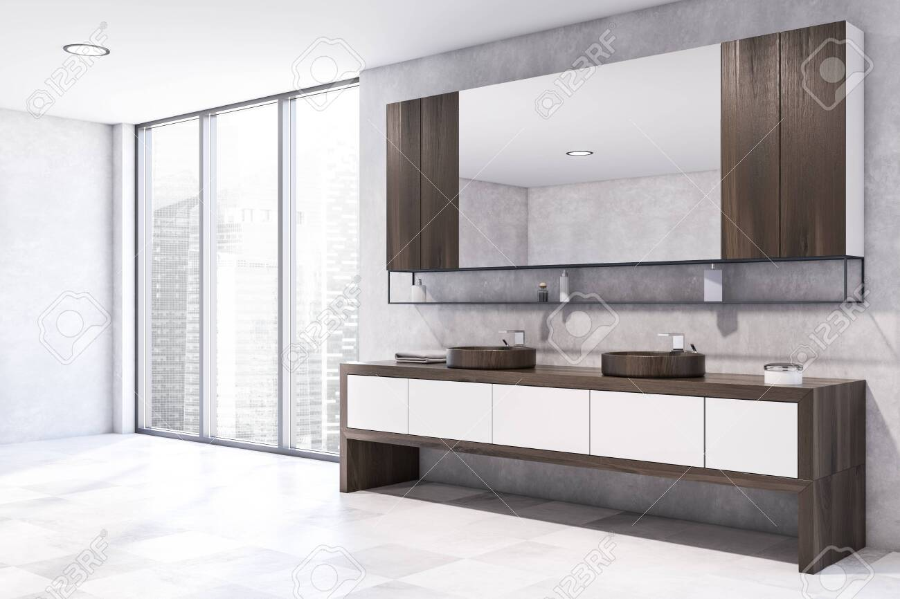 Corner Of Modern Bathroom With Concrete Walls Tiled Floor Comfortable Stock Photo Picture And Royalty Free Image Image 140314439
