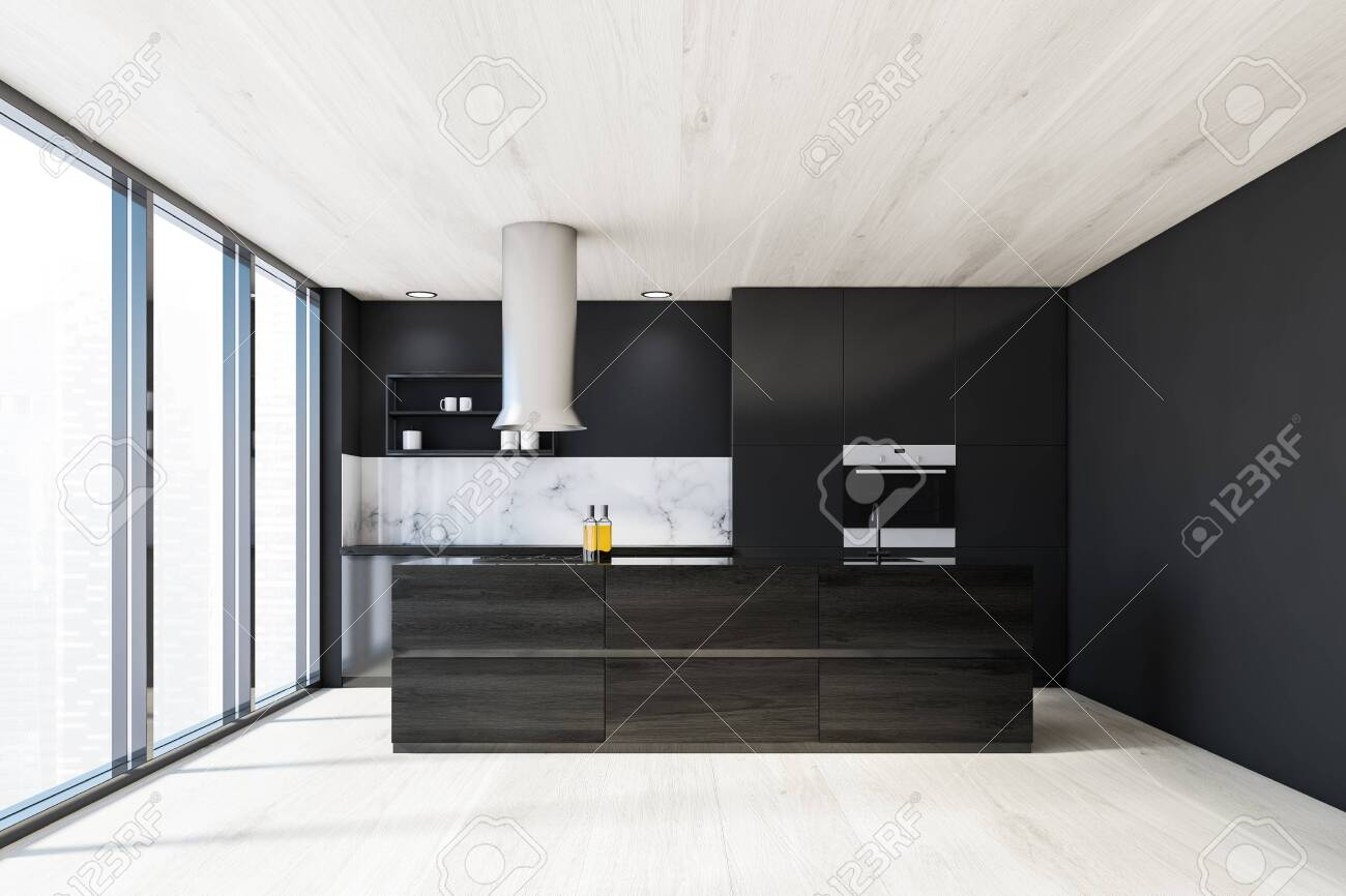 Interior Of Luxury Panoramic Kitchen With Gray And White Marble Stock Photo Picture And Royalty Free Image Image 140251807