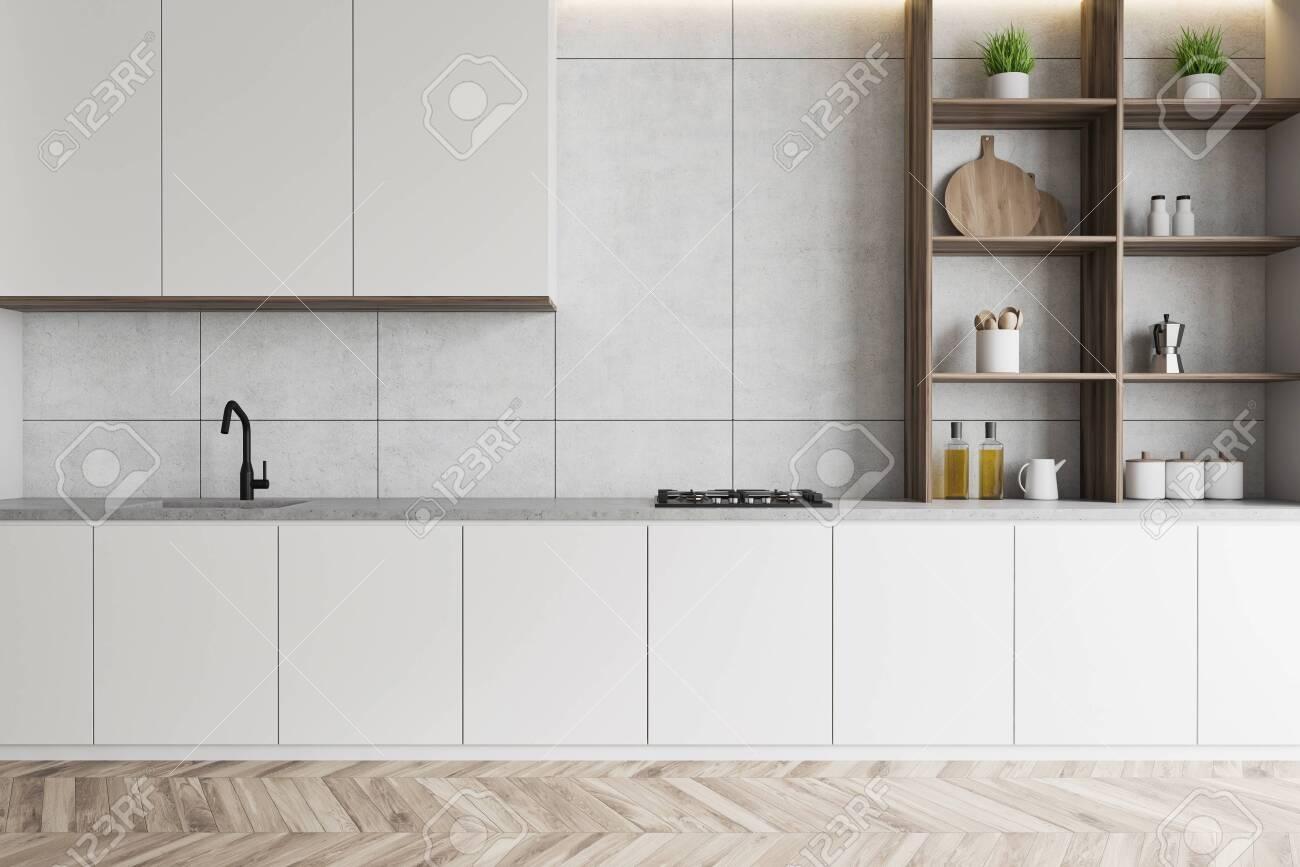 Interior Of Modern Kitchen With White Walls Wooden Floor White