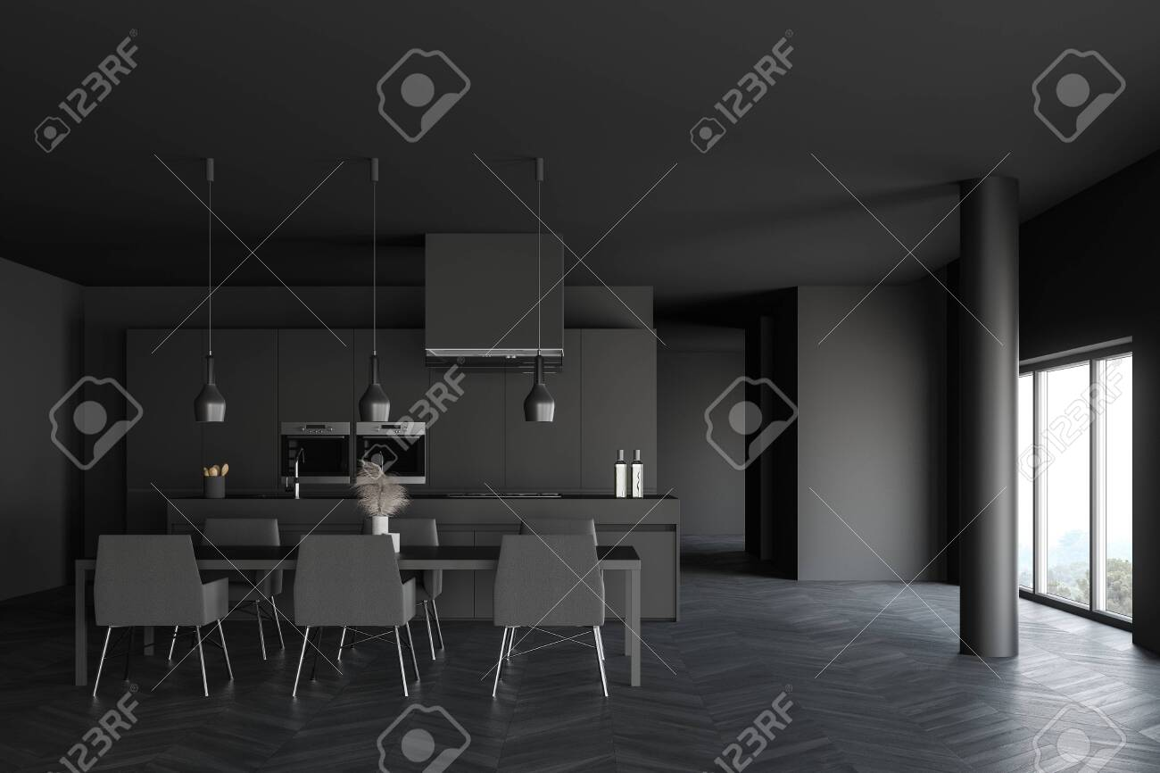 Interior Of Spacious Kitchen With Dark Grey Walls Wooden Floor Stock Photo Picture And Royalty Free Image Image 140252043
