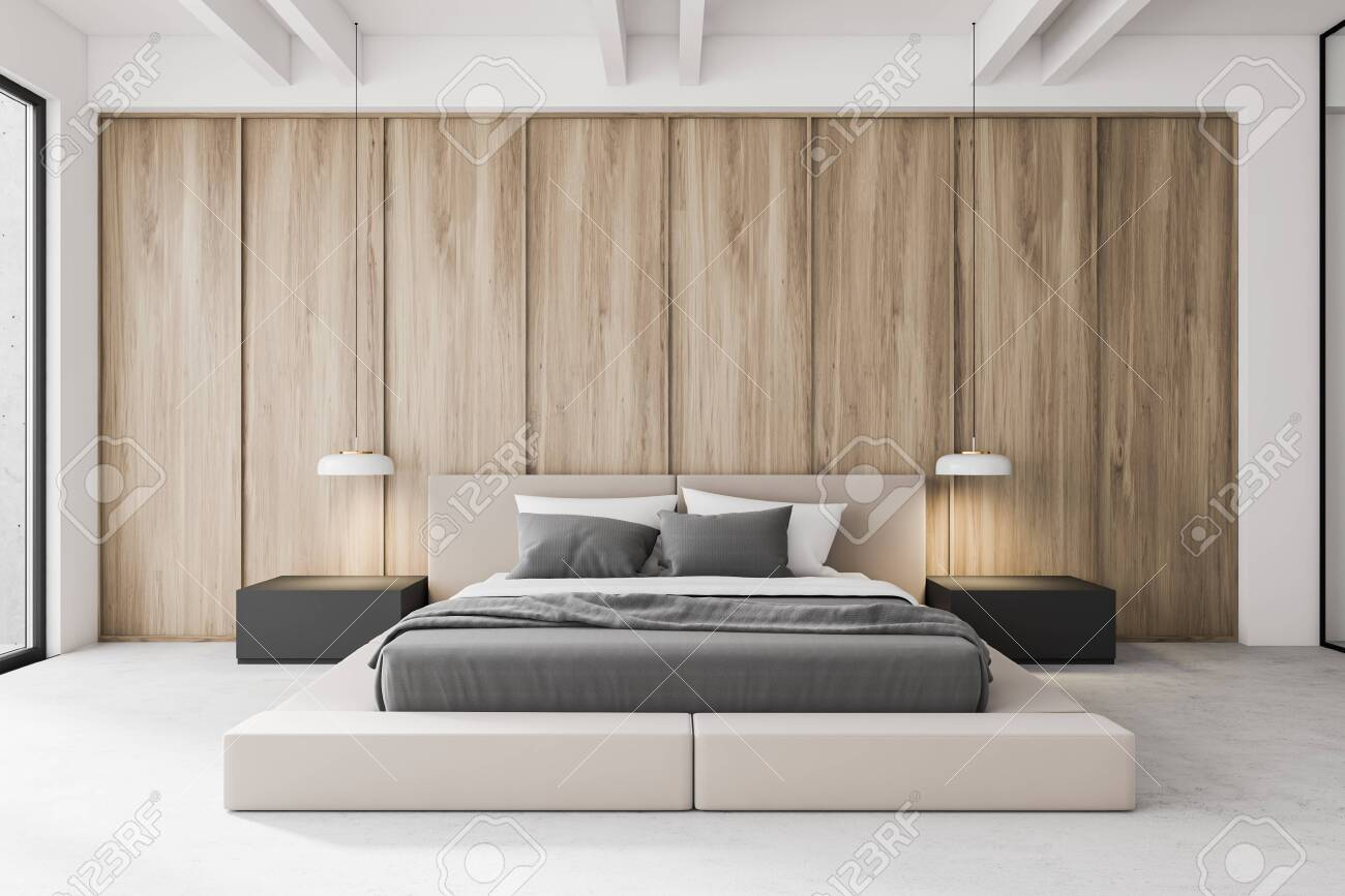 Luxury Modern Master Bedroom Interior With White And Wooden Walls Stock Photo Picture And Royalty Free Image Image 142658121