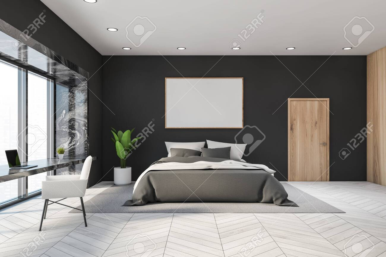 Interior Of Panoramic Master Bedroom With Gray Walls White Wooden Stock Photo Picture And Royalty Free Image Image 140252549