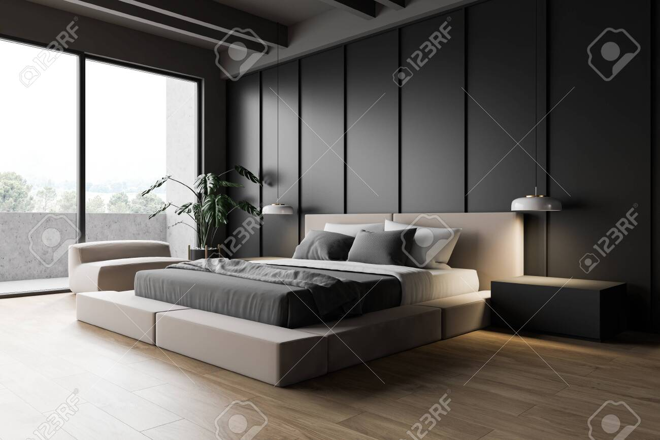 Luxury Modern Master Bedroom Corner With Balcony Dark Grey Walls Stock Photo Picture And Royalty Free Image Image 142553264