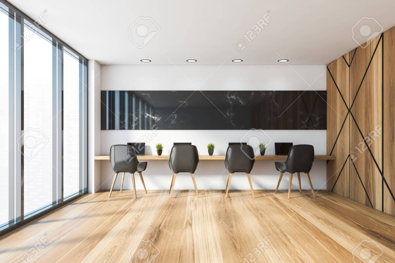 Interior Of Modern Coworking Style Office With White And Black Stock Photo Picture And Royalty Free Image Image 141623394