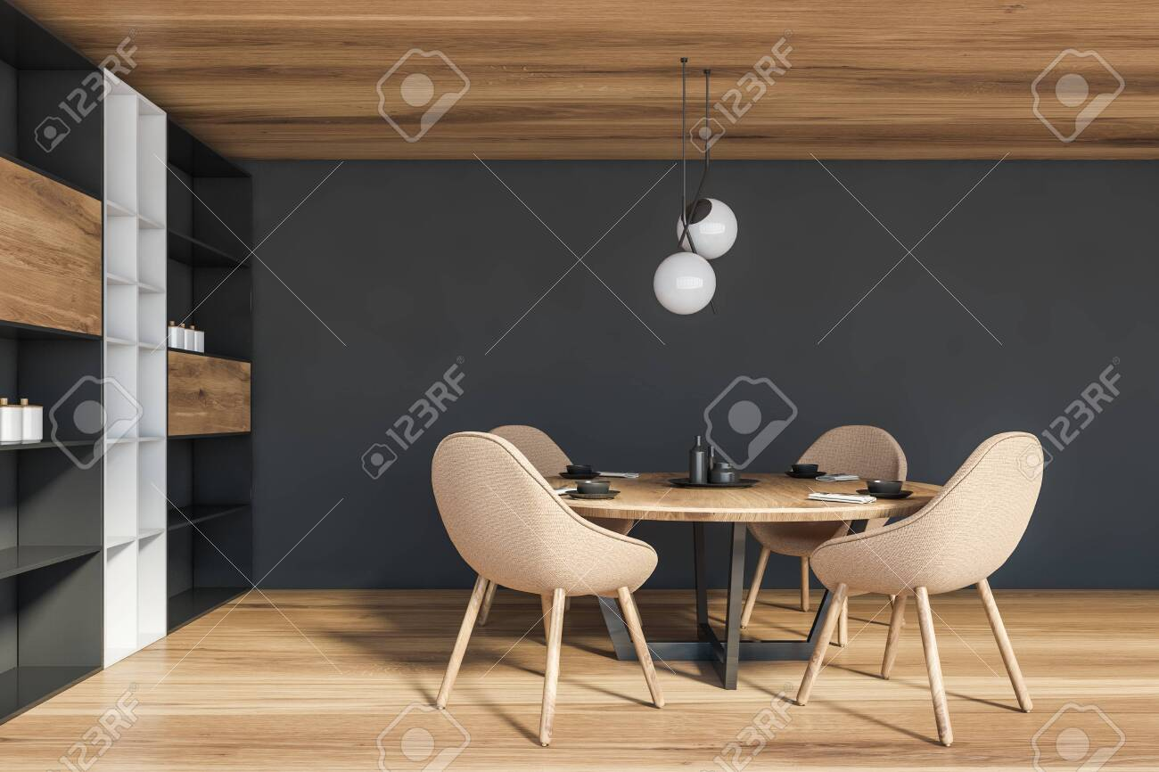 Interior Of Modern Dining Room With Gray Walls Wooden Floor Stock Photo Picture And Royalty Free Image Image 141623235