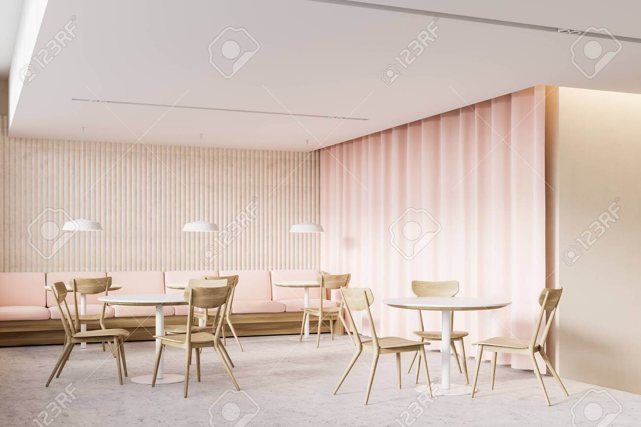 Corner Of Stylish Restaurant With Beige Walls Concrete Floor Stock Photo Picture And Royalty Free Image Image 144994242