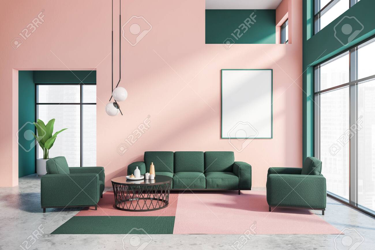 Interior Of Stylish Living Room With Pink And Green Walls Concrete Stock Photo Picture And Royalty Free Image Image 146863312
