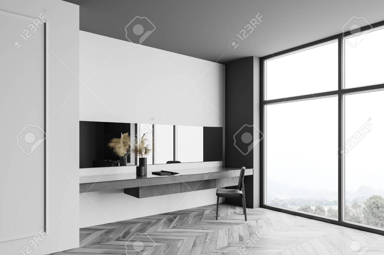 Corner Of Stylish Bedroom With White And Gray Walls Wooden Floor Stock Photo Picture And Royalty Free Image Image 150274639