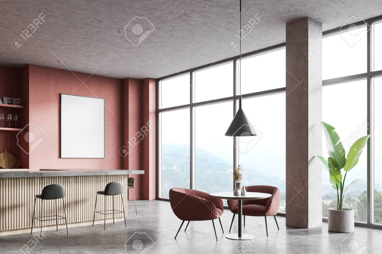 Corner Of Modern Loft Style Pub With Pink Walls Concrete Floor Stock Photo Picture And Royalty Free Image Image 150276527