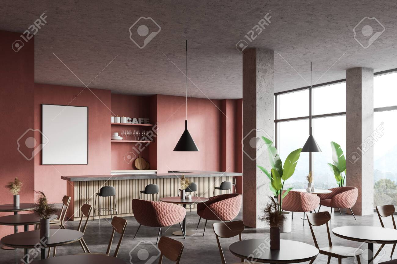 Corner Of Modern Restaurant With Pink Walls Concrete Floor Stock Photo Picture And Royalty Free Image Image 150276688
