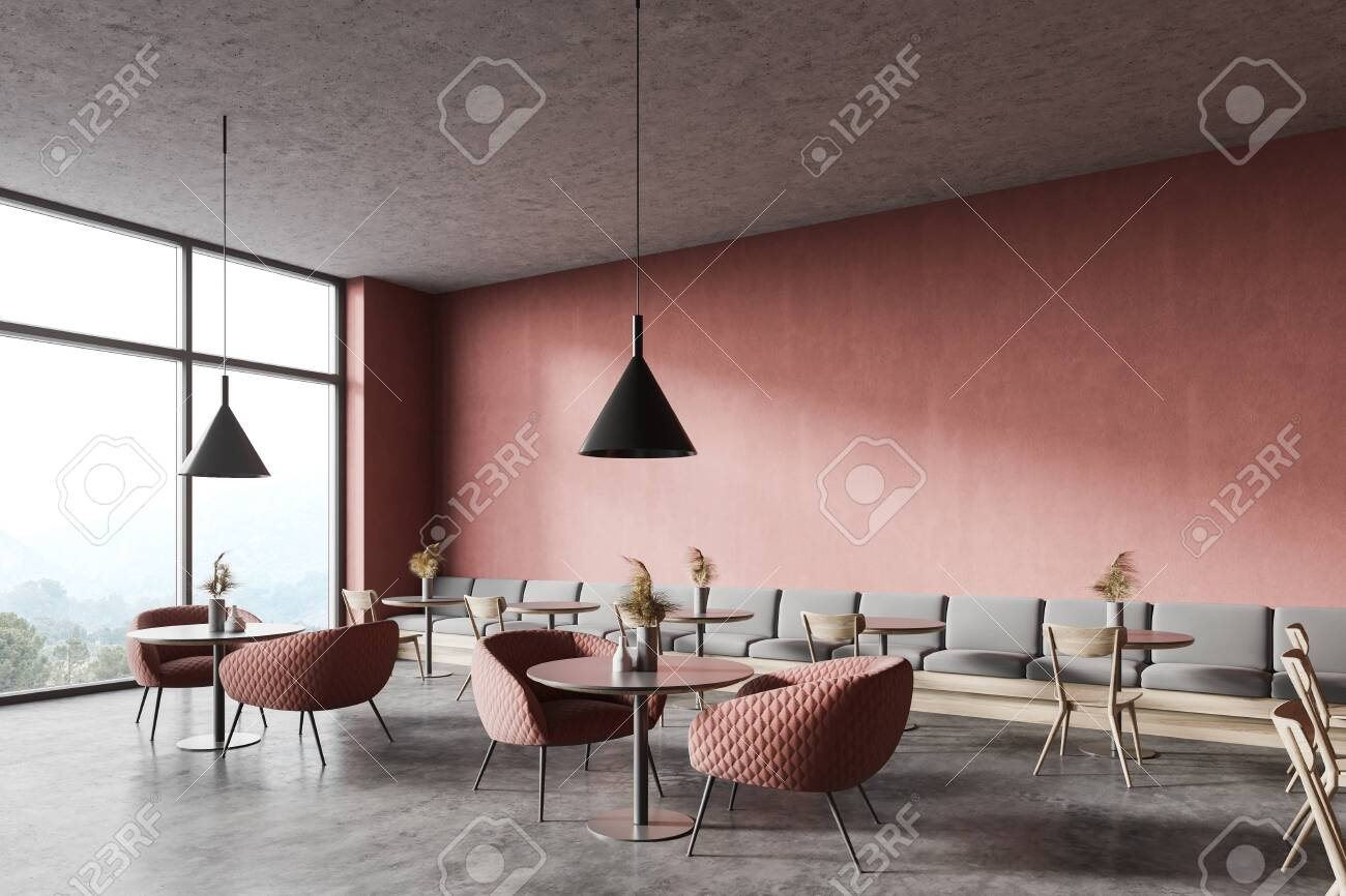 Corner Of Panoramic Restaurant With Pink Walls Concrete Floor Stock Photo Picture And Royalty Free Image Image 150277756