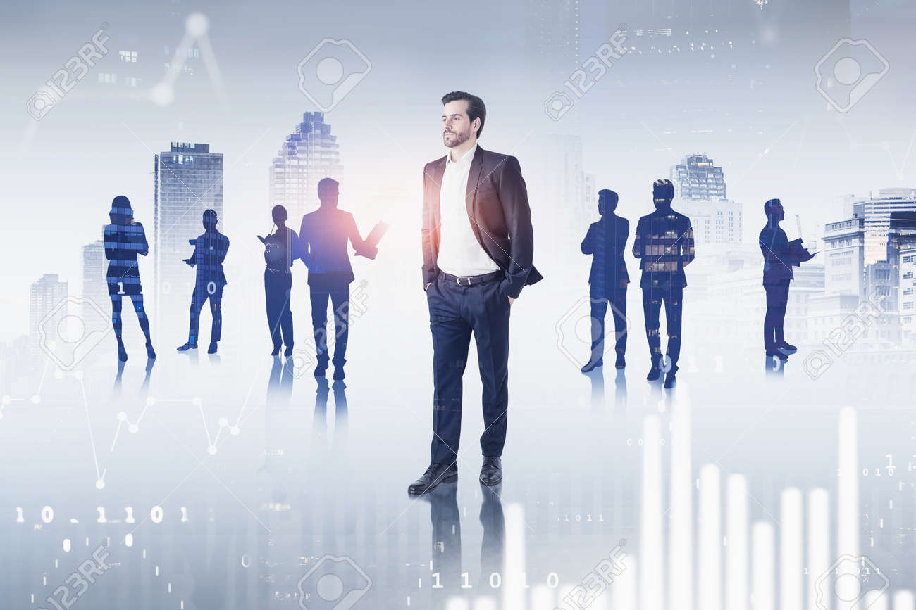 Portrait of confident young businessman and his team in blurry city with double exposure of graphs. Toned image - 155798331