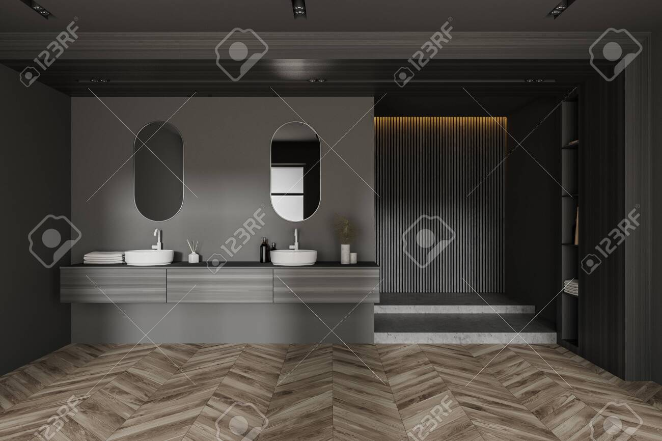 Interior Of Spacious Bathroom With Gray And Wooden Walls Wooden Stock Photo Picture And Royalty Free Image Image 156539530