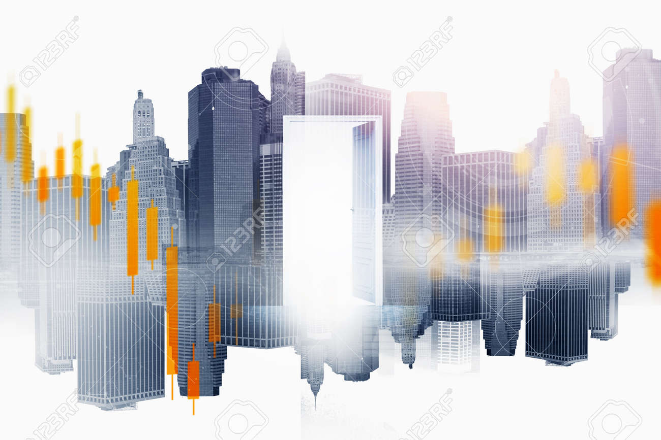 Open door in blurry city with double exposure of financial charts. Concept of stock market and opportunity. Toned image - 157017462