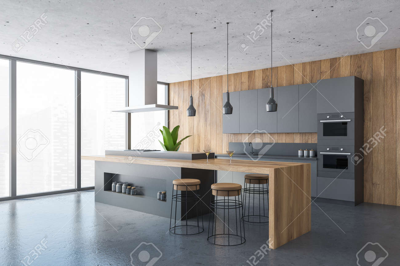 Black And Wooden Kitchen Set On Marble Floor, Side View, Wooden ...