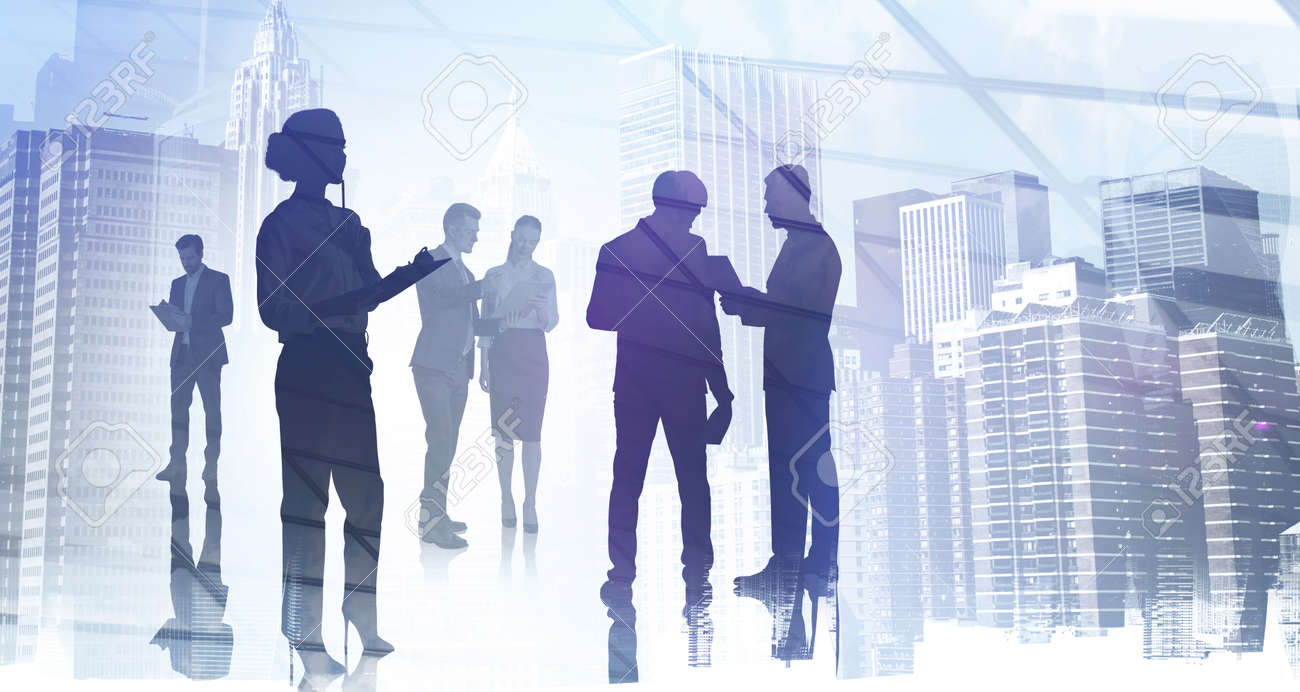 Silhouettes of business people working and rushing in office, New York skyscrapers on background. International finance consulting concept. Double exposure - 165469664