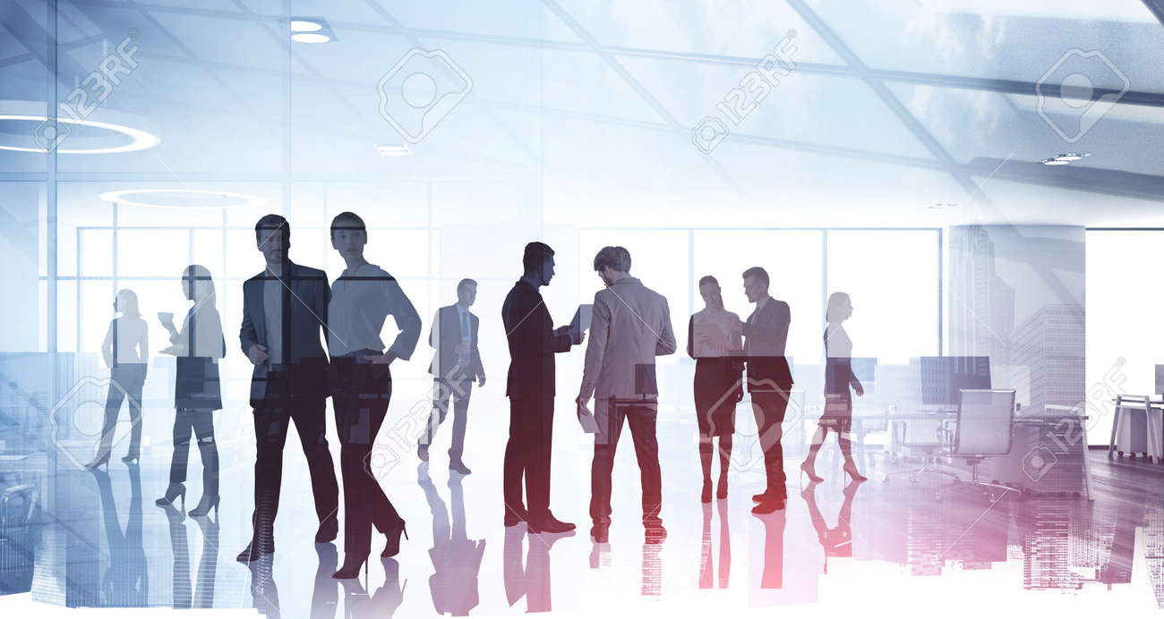 Silhouettes of diverse business people working together, toned image of office interior and skyscrapers. Concept of modern office with managers, partners - 165872291